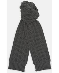 Turnbull & Asser - Dark Grey Cable Knit Cashmere Scarf - Lyst
