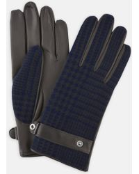 Turnbull & Asser - Navy And Black Houndstooth Wool And Leather Gloves - Lyst