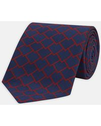 Turnbull & Asser - Navy And Red Tiled Silk Tie - Lyst