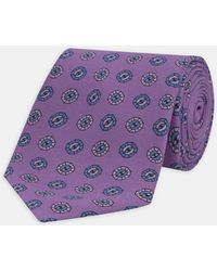 Turnbull & Asser - Lilac And Blue Medallion Hopsack Printed Silk Tie - Lyst