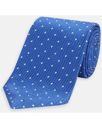 Turnbull & Asser - Royal Blue And White Spot Lace Silk Tie - Lyst