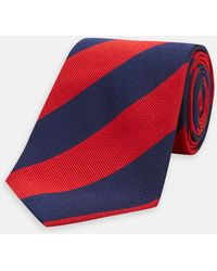 Turnbull & Asser - Navy And Red Block Stripe Repp Silk Tie - Lyst