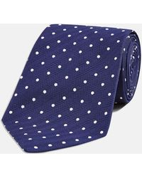 Turnbull & Asser | Navy And White Spot Herringbone Silk Tie | Lyst