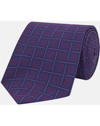 Turnbull & Asser - Navy And Pink Skyscraper Silk Tie - Lyst