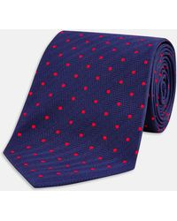 Turnbull & Asser - Navy And Red Spot Herringbone Silk Tie - Lyst