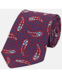 Turnbull & Asser - Large Paisley Geo Navy And Red Silk Tie - Lyst
