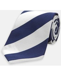 Turnbull & Asser - Navy And Off-white Block Stripe Repp Silk Tie - Lyst