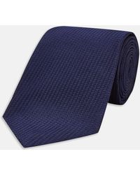 Turnbull & Asser - Long Navy Lace Silk Tie - Lyst