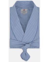 Turnbull & Asser - Sky Blue Check Cotton Gown - Lyst