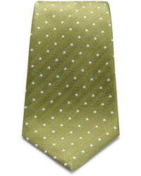 Turnbull & Asser - Olive Green And White Small Spot Herringbone Silk Spot - Lyst