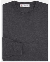 Turnbull & Asser - Dark Grey Crew Neck Merino Wool Jumper - Lyst