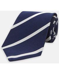Turnbull & Asser - Navy And White Blazer Stripe Repp Silk Tie - Lyst