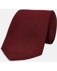 Turnbull & Asser - Slim Burgundy Grenadine Silk Tie - Lyst