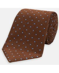 Turnbull & Asser - Brown And Blue Spot Lace Silk Tie - Lyst