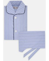 Turnbull & Asser - Sky Blue Stripe Sea Island Quality Cotton Piped Pyjama Set - Lyst