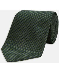 Turnbull & Asser - Navy And Green Houndstooth Silk Tie - Lyst