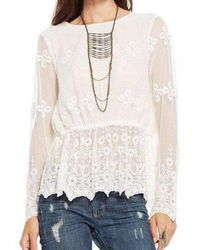 Chaser - White Vintage Lace Peplum Top - Lyst