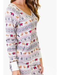 Pj Salvage - Reindeer & Bear Pattern Long Sleeve Top - Lyst