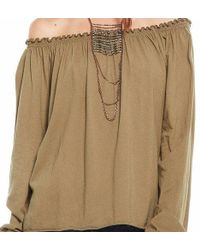 Chaser - Camel Brown Peasant Blouse - Lyst