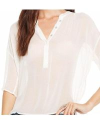 Chaser - Sheer White Henley Blouse - Lyst