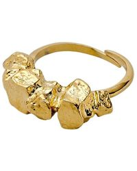 Pilgrim - Gold Plated Textured Ring - Lyst