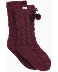 UGG - Women's Pom Pom Fleece Lined Crew Sock - Lyst