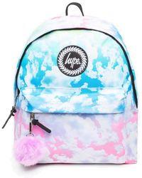 Hype Pastel Gradient Clouds Pom Pom Backpack Bag - Blue