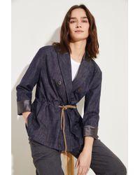 Brunello Cucinelli - Jeansblazer mit Kordelzug Blau 100% Baumwolle Futter: - Lyst