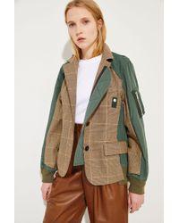 Sacai - Baumwoll-Jacke mit Glencheck Beige/Oliv 100% Baumwolle Füllung: - Lyst