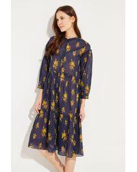 M.i.h Jeans - Kleid 'Lyra' mit Print Blau/Gelb 100% Baumwolle - Lyst
