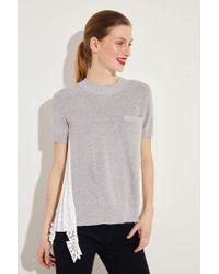 Sacai - Pullover mit Plissee-Detail Grau/Weiß- Pullover in Grau - Lyst