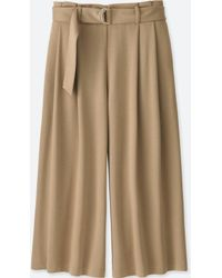 Uniqlo - Women Belted Wide Cropped Pants - Lyst