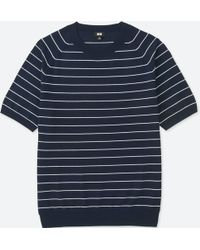Uniqlo - Men Washable Striped Crewneck Short-sleeve Sweater - Lyst
