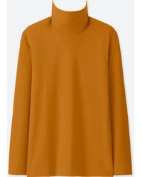 Uniqlo - Compact Cotton Turtle Neck Long Sleeved T-shirt - Lyst