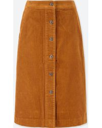 Uniqlo - Women Corduroy High-waist Front Button Skirt - Lyst