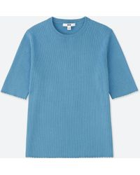 Uniqlo - Women Supima® Cotton Uv Cut Ribbed Crew Neck Half-sleeve Sweater - Lyst