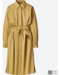 Uniqlo - Women U Cotton Satin Long-sleeve Shirt Dress - Lyst