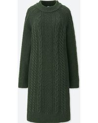 Uniqlo - Cable Knit Long Sleeved Dress - Lyst