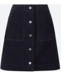 Uniqlo - Women Corduroy Front Button High-waist Mini Skirt - Lyst