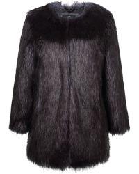 74edfc85e6 Pinko Saturno Fur Trim Coat in Black - Lyst