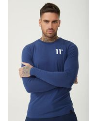 9c32bd7cc 11 Degrees Core Long Sleeve Muscle Fit T-shirt in Black for Men - Lyst
