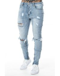 Sixth June - Destroyed Zipped Jeans - Lyst