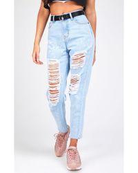 SIKSILK - Women's R.i.p Mom Bleach Flicker Mom Jeans - Lyst