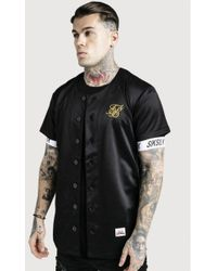 SIKSILK - Baseball Jersey Black & Gold - Lyst
