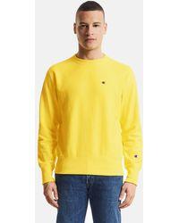 Champion - Classic Crewneck Small Logo Sweatshirt Yellow - Lyst