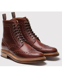 Grenson - Fred Burnished-leather Brogue Boots - Lyst