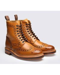 Grenson - Fred Calf Brogue Derby Boot - Lyst