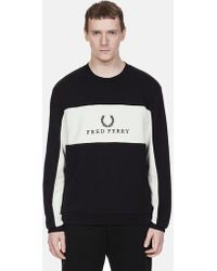 Fred Perry - Panel Piped Sweat Shirt Black - Lyst