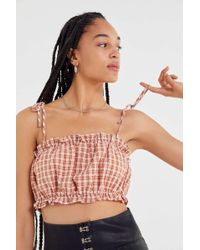 Urban Outfitters - Uo Crinkle Tie-shoulder Cropped Top - Lyst