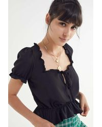 Urban Outfitters - Uo Riley Ruffle Tie-front Blouse - Lyst